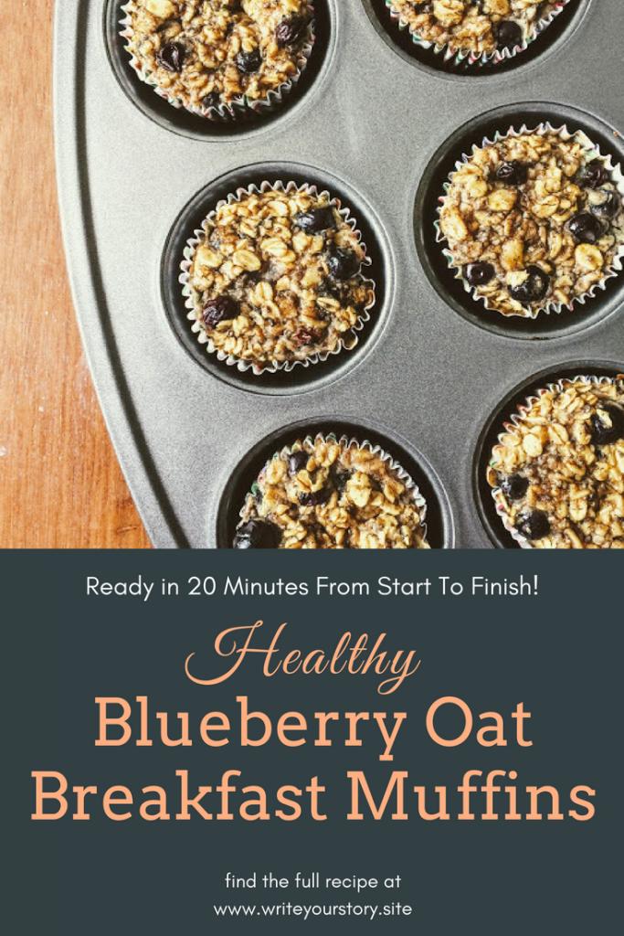 healthy blueberry oat breakfast muffins