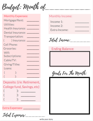 preview free budget worksheet