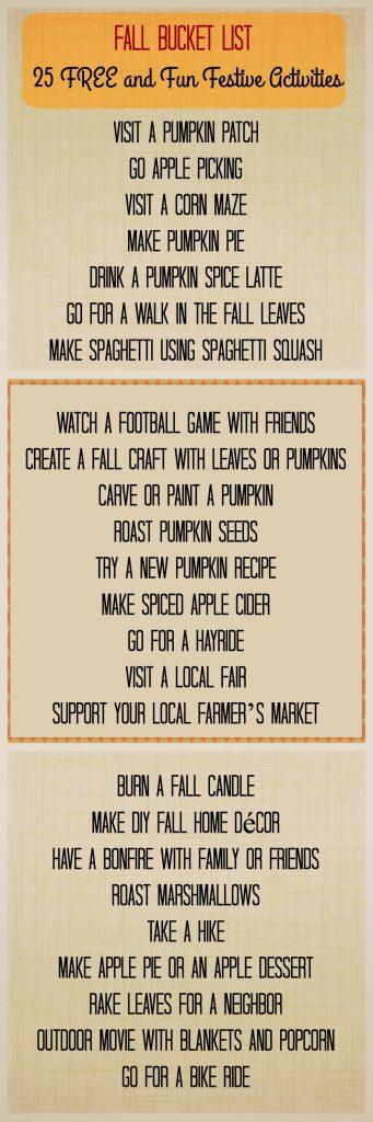 Fall Bucket List Free Activities