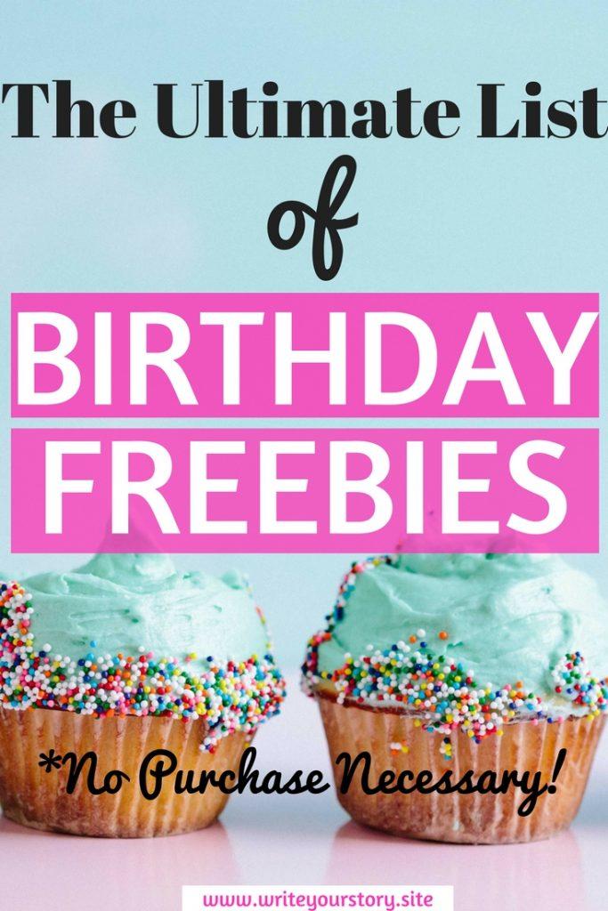birthday freebies / free birthday stuff