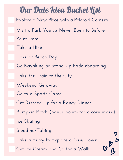 date idea bucket list free printable