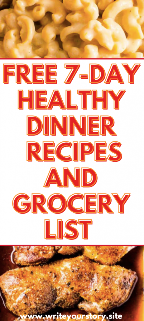7 day dinner recipes and grocery list